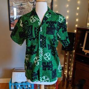vintage Royal Hawaiian Barkcloth Button Up shirt